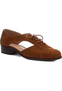 Oxford Couro Shoestock Nobuck Vazado Feminino - Feminino-Marrom Claro