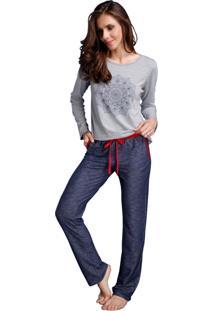 Pijama Longo Inspirate Jeans Zen Azul