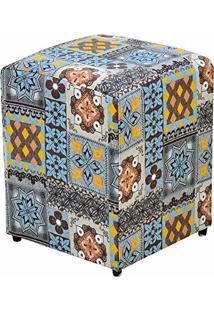 Puff Decorativo Quadrado Suede Azulejo - Nay Estofados