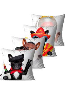 Kit Com 4 Capas Para Almofadas Pump Up Decorativas Branco Dog Turista 45X45Cm