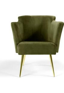 Poltrona Sabrina- Verde & Dourada- 80X65X66Cm- Ccombinare