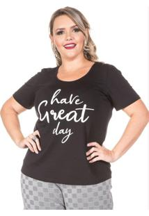 T-Shirt Have Great Day Preto Plus Size