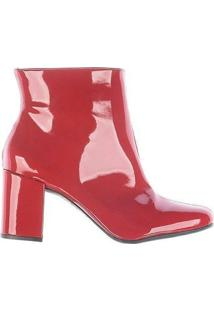 Bota Ankle Boots Salto Grosso Zatz Cano Curto - Feminino-Vermelho
