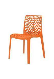 Cadeira Gruver Em Polipropileno Cor Laranja - 44966 Preto