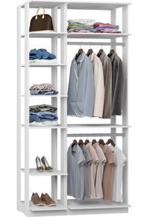Closet 2 Cabideiros 7 Prateleiras 9005 Branco - Bentec