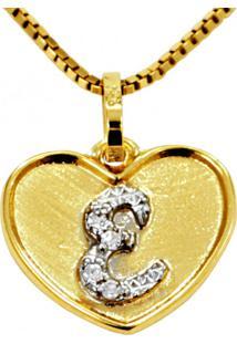 Pingente Em Ouro 18K Coração Com Letra E Com 5 Diamantes - Pg20102