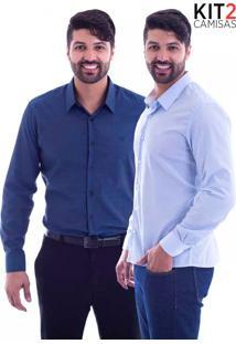 Kit 2 Camisas Slim Fit Live Luxor - Azul E Azul Listrado-P