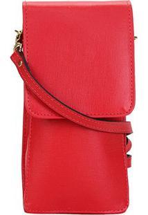 Porta Celular Shoestock Couro - Feminino-Vermelho