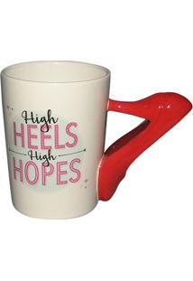 Caneca Heels- Branca & Vermelha- 360Ml- Full Fitfull Fit