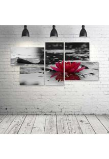 Quadro Decorativo - Red-Flower - Composto De 5 Quadros - Multicolorido - Dafiti
