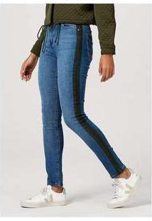 Calça Skinny Feminina Em Jeans De Algodão Com Bolso Azul