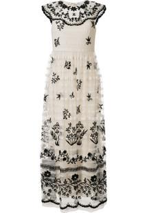 Red Valentino Vestido Longo Com Bordado Floral - Branco