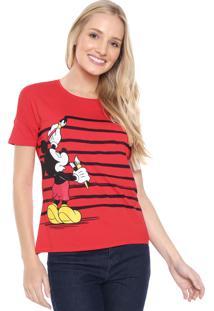 Blusa Cativa Disney Mickey Listras Vermelha