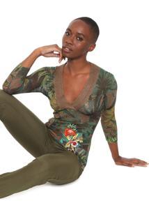 Blusa Desigual Tricot Ali Marrom/Verde