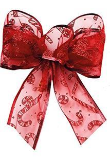Laço De Árvore De Natal Candy Cane Vermelha
