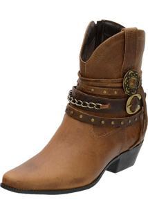 Bota Country Feminina Mr Shoes Em Couro Tabaco