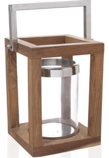 Lanterna Com Porta Vela Modern Madeira 25Cm