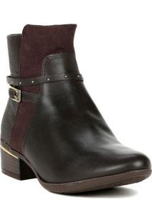 Bota Ankle Boots Feminina Comfortflex Marrom Escuro