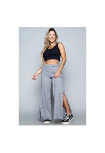 Calça Flare Pantalona Vekyo Cintura Alta Com Fenda Cinza