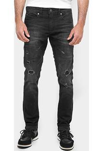 Calça Jeans Skinny Sergio K Puídos Black Masculina - Masculino