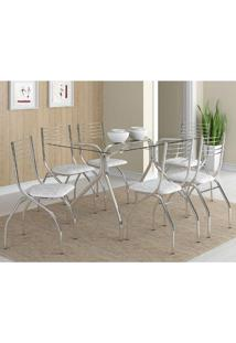 Mesa 387 Com Vidro Incolor Cromada Com 6 Cadeiras 146 Fantasia Branco Carraro