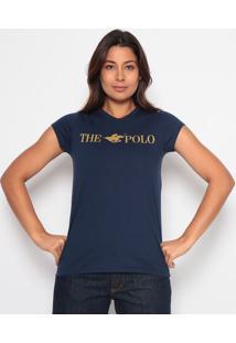 """Blusa """"The Polo"""" Com Decote Em """"V"""" - Azul Marinho & Dourclub Polo Collection"""