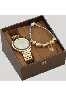 Kit De Relógio Analógico Mondaine Feminino + Pulseira - 53665Lpmvde1K Dourado - Único