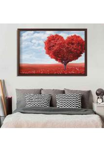 Quadro Love Decor Com Moldura Heart Tree Madeira Escura Grande