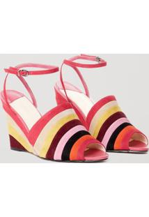 Sandália De Camurça Colorida Rosa Batom Escuro - 35