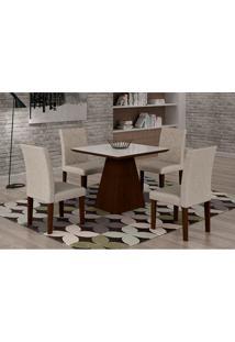 Conjunto De Mesa De Jantar Luna Com 4 Cadeiras Ane Iii Linho Castor E Branco
