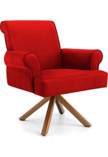 Poltrona Decorativa Sala De Estar Giratória Luiza Veludo Vermelho - Gran Belo