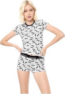 Short-Doll Calvin Klein Underwear Estampado Branco/Preto