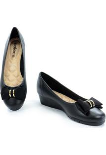 Sapato Moleca Anabela Baixo Napa Feminino - Feminino-Preto