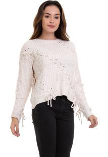 Suéter Kinara Tricot Com Trançado Bege - Kanui