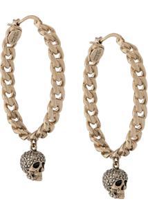 Alexander Mcqueen Chain Skull Hoop Earrings - Dourado