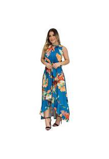 Vestido Mullet Longo Estampa Floral Azul