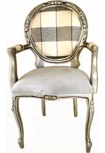 Cadeira Com Braço Estilo Medalhão Design De Luxo Peça Artesanal