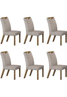 Conjunto Com 6 Cadeiras Verona Ipê E Pena Palha
