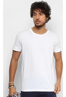 Camiseta Triton Mescla Estampa Ombro Masculina - Masculino-Branco