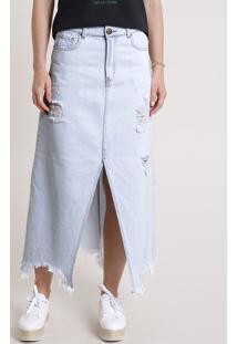 Saia Jeans Feminina Longa Destroyed Com Fenda Azul Claro