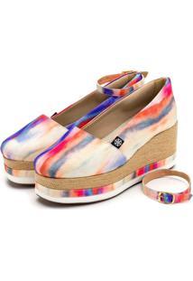 Anabela Aberta Salto Mã©Dio Em Tecido Tie-Dye Feminino Conforto - Multicolorido - Feminino - Dafiti