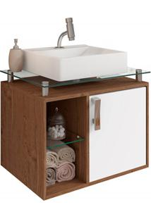 Gabinete Suspenso Para Banheiro Porto 57,2X60,2Cm Amêndoa E Branco
