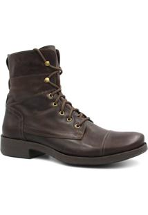 Bota Zariff Shoes Coturno Em Couro Masculina - Masculino-Marrom Escuro
