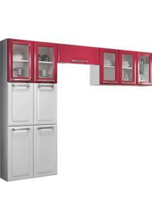Cozinha Compacta Itatiaia Luce 3 Pçs 10 Portas Branca/Vermelha/Rubi