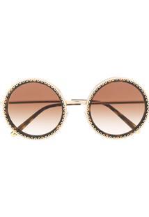 73a4d4645 Dolce & Gabbana Eyewear Óculos De Sol Arredondado - Marrom
