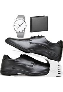 Kit Sapato Social Antistress Confort Com Organizador, Carteira E Relógio Clean Dubuy 231Db Preto - Kanui