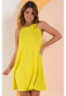 Vestido Curto Decote Trapézio Amarelo