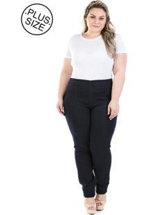 Calça Feminina Jeans Legging Ziper Lateral Knit Plus Size