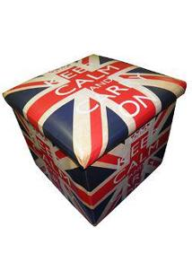 Puff Bau Porta Treco Dobra Assento Vintage Retro London Bandeira Keep Calm (Pf-9)