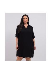 Vestido Curto Liso Com Bolsos Curve & Plus Size | Ashua Curve E Plus Size | Preto | G
